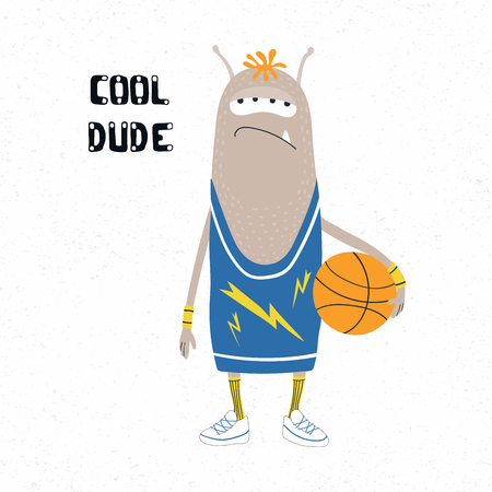 Hand drawn vector illustration of a cute funny monster in a tank top, holding a basketball ball, with quote Cool dude. Isolated objects on white background. Design concept for children print.