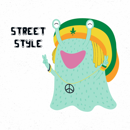 Hand drawn vector illustration of a cute funny monster in a rasta hat, making peace signs, with quote Street style. Isolated objects on white background. Design concept for children print.