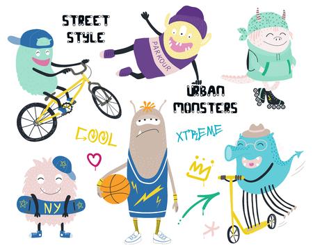 Satz niedliche lustige verschiedene moderne Stadtmonster in Straßenartkleidung, mit Text, Graffiti-Tags. Isolierte Objekte auf weißem Hintergrund. Hand gezeichnete Vektorillustration. Design-Konzept Kinder drucken. Standard-Bild - 104146221