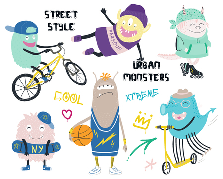 Set of cute funny different modern city monsters in street style clothes, with text, graffiti tags. Isolated objects on white background. Hand drawn vector illustration. Design concept children print.