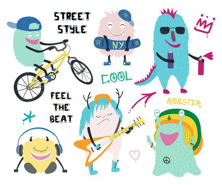 Set van leuke grappige verschillende moderne stadsmonsters in Streetstyle-kleding, met tekst, graffiti-tags. Geïsoleerde objecten op een witte achtergrond. Hand getekende vector illustratie. Ontwerpconcept kinderen afdrukken.