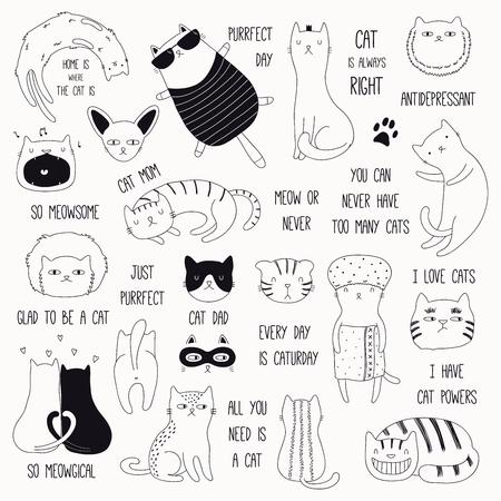 Set di simpatici scarabocchi divertenti in bianco e nero di diversi gatti e citazioni. Oggetti isolati. Illustrazione vettoriale disegnato a mano. Linea di disegno. Concetto di design per poster, t-shirt, stampa di moda.