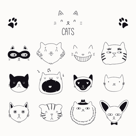 Set of cute funny black and white doodles of different cats faces. Isolated objects. Hand drawn vector illustration. Line drawing. Design concept for poster, t-shirt, fashion print. Ilustração