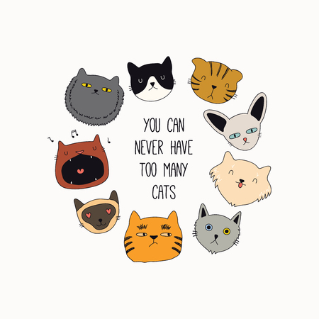 Set of cute funny color doodles of different cats faces. Round frame with quote. Isolated objects. Hand drawn vector illustration. Line drawing. Design concept for poster, t-shirt print.