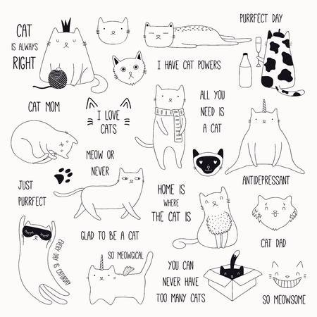 Satz niedliche lustige schwarze und weiße Kritzeleien von verschiedenen Katzen und Zitaten. Isolierte Objekte. Hand gezeichnete Vektorillustration. Strichzeichnung. Designkonzept für Plakat, T-Shirt, Modedruck.