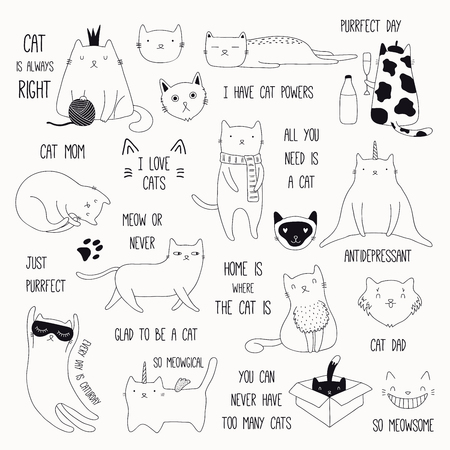 eb7730791530 Set of cute funny black and white doodles of different cats and quotes.  Isolated objects