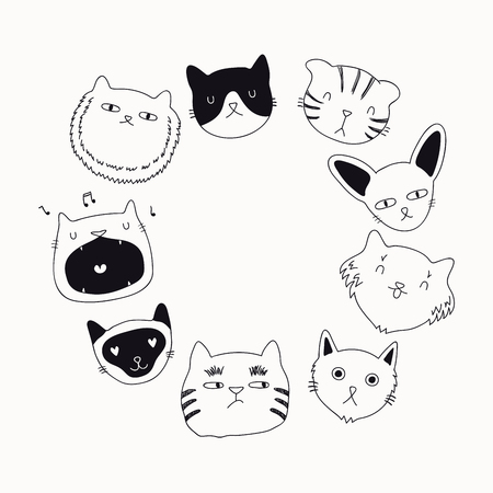 Set of cute funny black and white doodles of different cats faces. Round frame with copy space. Isolated objects. Hand drawn vector illustration. Line drawing. Design concept for poster, t-shirt print Illustration