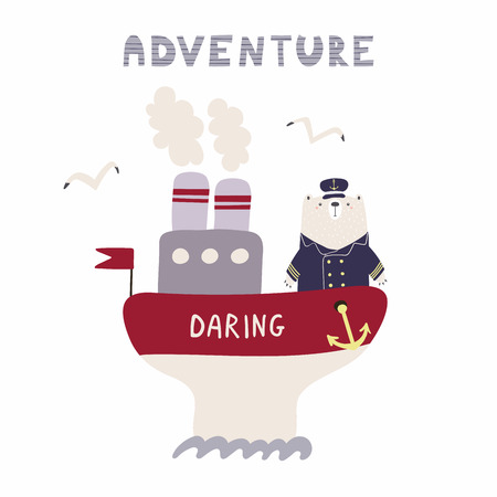 Hand drawn vector illustration of a cute funny bear sailing on a ship, with text Adventure. Isolated objects on white background. Scandinavian style flat design. Concept for kids, nursery print. Illustration