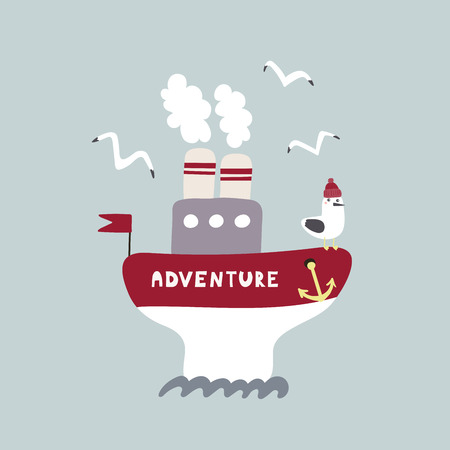 Hand drawn vector illustration of a cute funny ship named Adventure, sailing, with a seagull. Isolated objects on white background. Scandinavian style flat design. Concept for kids, nursery print.