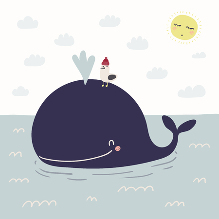 Hand drawn vector illustration of a cute funny whale swimming in the sea, seagull, sun, clouds. Scandinavian style flat design. Concept for kids, nursery print.
