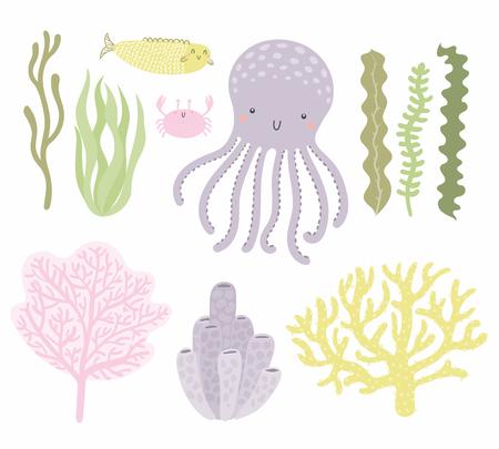 Meeresset mit süßem lustigen Tintenfisch, Krabben, Fischen, Korallen, Algen. Isolierte Objekte auf weißem Hintergrund. Handgezeichnete Vektor-Illustration. Flaches Design im skandinavischen Stil. Konzept für Kinderdruck. Vektorgrafik
