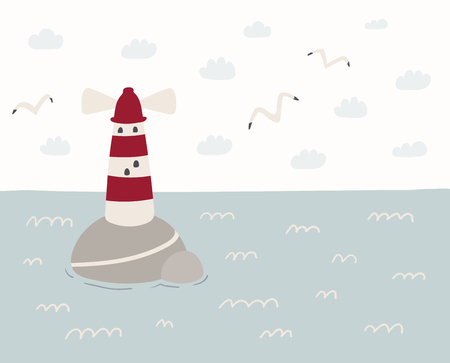 Hand drawn vector illustration of a cute sea landscape with lighthouse, seagulls, clouds. Scandinavian style flat design. Concept for kids, nursery print.