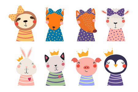 Set of cute funny little animals cat, sheep, penguin, bunny, sloth, fox, pig, squirrel. Isolated objects on white. Vector illustration. Scandinavian style flat design. Concept for children print Stock Vector - 104292350
