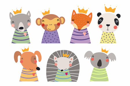 Set of cute funny little animals in crowns koala, panda, dog, wolf, fox, hedgehog, monkey. Isolated objects on white. Vector illustration. Scandinavian style flat design. Concept for children print Illustration