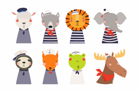Set of cute funny little animals sailors lion, sheep, wolf, frog, moose, squirrel, elephant, sloth. Isolated objects on white. Vector illustration. Scandinavian style flat design. Concept kids print