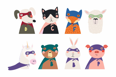 Set of cute funny little animals superheroes cat, bear, unicorn, llama, dog, fox, pig, bunny. Isolated objects on white. Vector illustration. Scandinavian style flat design. Concept for children print