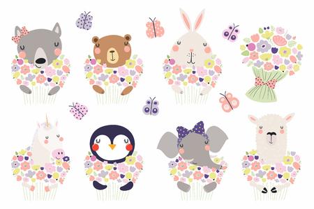 Conjunto de lindos animalitos divertidos con flores oso, unicornio, llama, pingüino, conejito, lobo, elefante. Objetos aislados en blanco. Ilustración vectorial. Diseño de estilo escandinavo. Concepto de impresión infantil