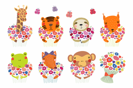 Set of cute funny little animals with flowers tiger, sloth, frog, fox, monkey, squirrel, giraffe. Isolated objects on white. Vector illustration. Scandinavian style flat design. Concept children print