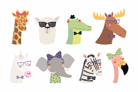 Set of cute funny trendy animals unicorn, zebra, llama, flamingo, giraffe, moose, crocodile, elephant. Isolated objects on white. Vector illustration. Scandinavian style design Concept kids print
