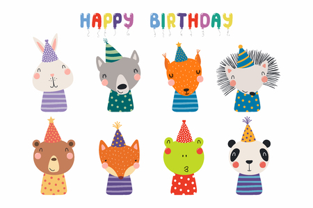 Set of cute funny animals in party hats bear, panda, bunny, wolf, frog, fox, hedgehog, squirrel. Isolated objects on white. Vector illustration. Scandinavian style design. Concept kids birthday print Banque d'images - 113572878