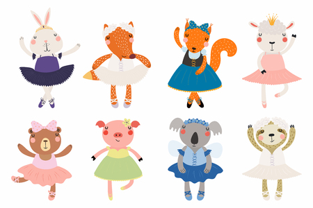 Set of cute funny little animals ballerinas bear, sheep, bunny, fox, pig, squirrel, sloth, koala. Isolated objects on white. Vector illustration. Scandinavian style flat design. Concept children print Ilustracja