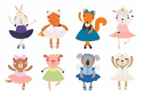Zestaw słodkie śmieszne małe zwierzęta baleriny niedźwiedź, owca, króliczek, lis, świnia, wiewiórka, lenistwo, koala. Pojedyncze obiekty na białym tle. Ilustracji wektorowych. Płaska konstrukcja w stylu skandynawskim. Koncepcja druku dla dzieci