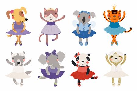Zestaw uroczych zabawnych małych zwierzątek baleriny kot, koala, panda, tygrys, pies, wilk, lenistwo, słoń. Pojedyncze obiekty na białym tle. Ilustracji wektorowych. Płaska konstrukcja w stylu skandynawskim. Koncepcja druku dla dzieci Ilustracje wektorowe