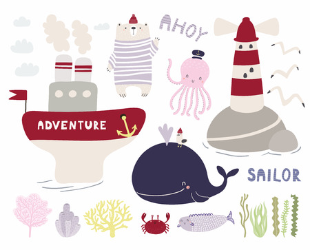 Sea set with cute funny bear sailor, octopus, whale, ship, lighthouse, seagulls, corals, seaweed. Isolated objects on white. Hand drawn vector illustration. Scandinavian style design. Concept kids Illustration