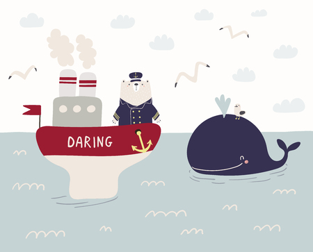Hand drawn vector illustration of a cute funny sailor bear sailing on a ship, whale swimming in the sea, seagulls, clouds. Scandinavian style flat design. Concept for kids, nursery print. Illustration