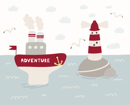 Hand drawn vector illustration of a cute funny ship named Adventure sailing, lighthouse, seagulls, clouds. Scandinavian style flat design. Concept for kids, nursery print. Illustration