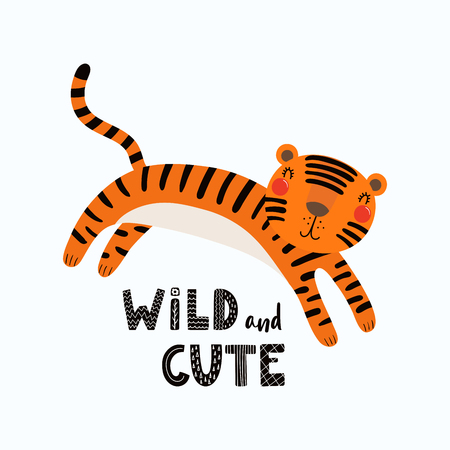Hand drawn vector illustration of a cute funny tiger, with lettering quote Wild and cute. Isolated objects on white background. Scandinavian style flat design. Concept for children print.