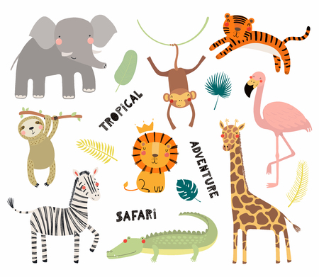 Set of cute funny animals flamingo, sloth, crocodile, elephant, giraffe, lion, tiger, monkey, zebra. Isolated objects on white. Vector illustration Scandinavian style design Concept kids print Illusztráció