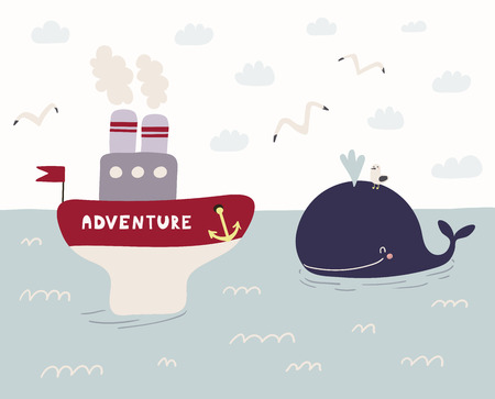 Hand drawn vector illustration of a cute funny whale swimming in the sea, ship named Adventure sailing, seagulls, clouds. Scandinavian style flat design. Concept for kids, nursery print. Illustration
