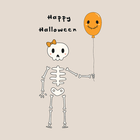 Hand drawn vector illustration of a kawaii funny skeleton with a balloon, with text Happy Halloween. Isolated objects. Line drawing. Design concept for print, card, party invitation.