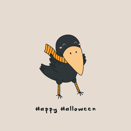 Hand drawn vector illustration of a kawaii funny crow in a muffler, leg warmers, with text Happy Halloween. Isolated objects. Line drawing. Design concept for print, card, party invitation.