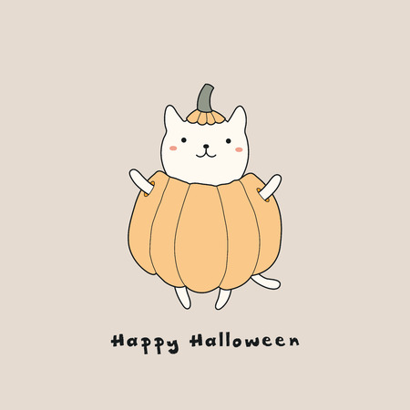 Hand drawn vector illustration of a kawaii funny cat in a pumpkin, with text Happy Halloween. Isolated objects. Line drawing. Design concept for print, card, party invitation. Illustration