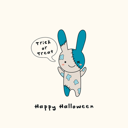 Hand drawn vector illustration of a kawaii funny zombie bunny, with text Happy Halloween, Trick or treat in a speech bubble. Isolated objects. Line drawing. Design concept for print, card, invitation.