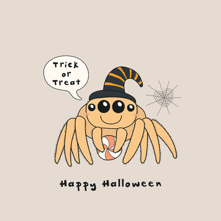 Hand drawn vector illustration of a kawaii funny spider, with text Happy Halloween, Trick or treat in a speech bubble. Isolated objects. Line drawing. Design concept for print, card, party invitation. Illustration