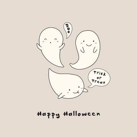 Hand drawn vector illustration of a kawaii funny ghosts, with text Happy Halloween, Boo, Trick or treat in speech bubbles. Isolated objects. Line drawing. Design concept for print, card, invitation. Illustration