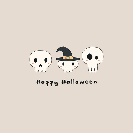 Hand drawn vector illustration of a kawaii funny skulls, witch hat, with text Happy Halloween. Isolated objects. Line drawing. Design concept for print, card, party invitation.