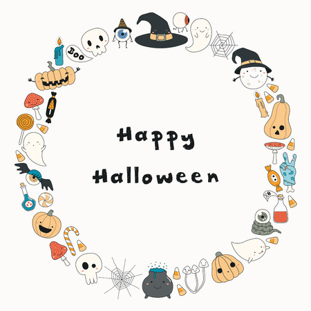 Hand drawn vector illustration of a kawaii funny Halloween wreath, with pumpkins, ghosts, candy, witch hat, moon, text. Isolated objects. Line drawing. Design concept for print, card, invitation Illustration