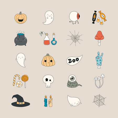 Set of kawaii funny Halloween icons, with pumpkins, ghosts, monsters, zombie, witch hat, candy, pot, web. Isolated objects. Hand drawn vector illustration. Line drawing Design concept for print