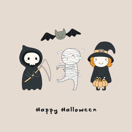 Hand drawn vector illustration of a kawaii funny death, witch, mummy, bat, with text Happy Halloween. Isolated objects. Line drawing. Design concept for print, card, party invitation.