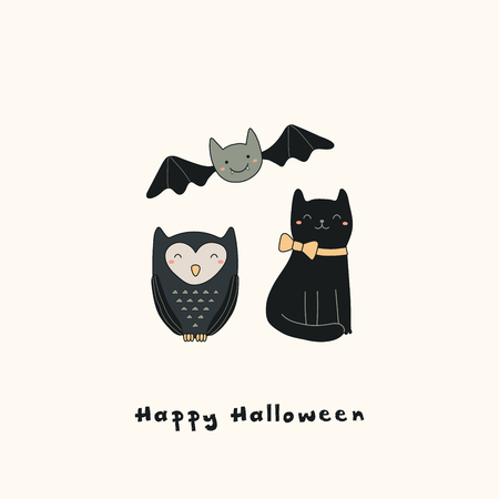 Hand drawn vector illustration of a kawaii funny owl, black cat, bat, with text Happy Halloween. Isolated objects. Line drawing. Design concept for print, card, party invitation.