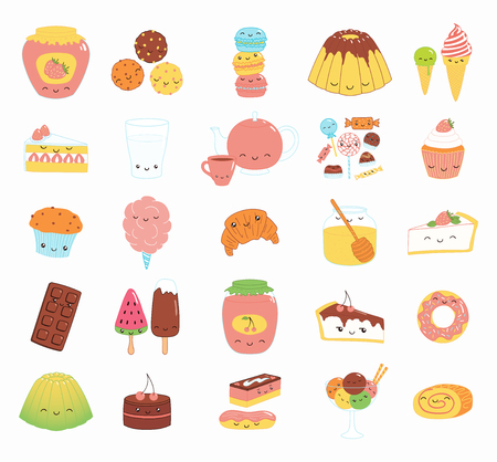 Set of kawaii funny sweet food doodle icons with cake, cookies, ice cream, candy, jam, macarons. Isolated objects. Hand drawn vector illustration. Line drawing. Design concept dessert, kids print. Archivio Fotografico - 105020080