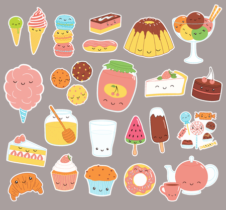 Zestaw naklejek doodle kawaii śmieszne słodkie jedzenie z ciasta, ciasteczka, lody, słodycze, dżem, makaroniki. Pojedyncze obiekty. Ręcznie rysowane ilustracji wektorowych. Rysowanie linii. Projekt deseru koncepcyjnego, druk dla dzieci.