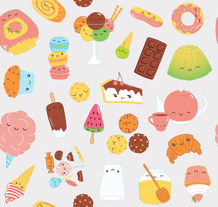 Hand drawn seamless vector pattern with kawaii funny sweet food doodles of cake, cookies, ice cream, candy, jam, macarons. Line drawing. Design concept kids textile print, wallpaper, wrapping paper.