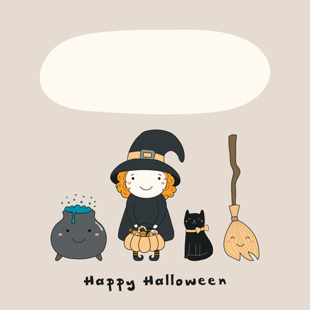 Hand drawn vector illustration of a kawaii funny witch, cat, broomstick, pot, with text Happy Halloween, space for copy. Isolated objects. Line drawing. Design concept for print, card, invitation.