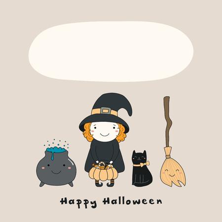 Ilustración de vector dibujado a mano de una bruja divertida kawaii, gato, escoba, olla, con texto Feliz Halloween, espacio para copiar. Objetos aislados. Dibujo lineal. Concepto de diseño para impresión, tarjeta, invitación.