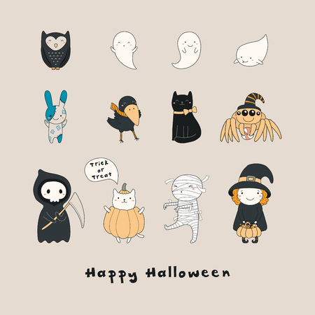Set of kawaii funny Halloween characters, with ghosts, cats, zombie bunny, witch, death, mummy, spider, owl, crow. Isolated objects. Hand drawn vector illustration Line drawing Design concept print Illustration